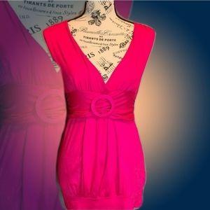 Twentyone Pink Shirred Waist Buckle Detail Top